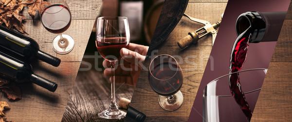 şarap tadımı fotoğraf kolaj şarap bardakları şişeler Stok fotoğraf © stokkete