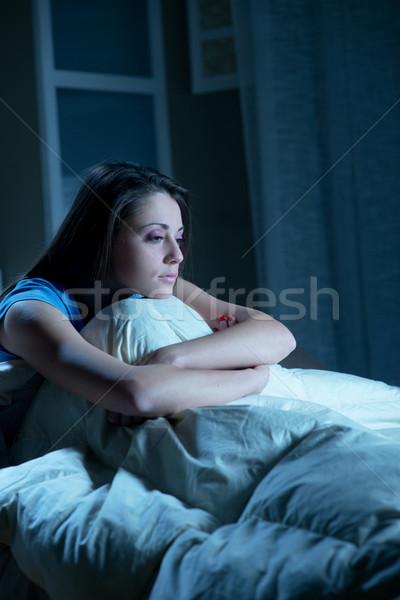 Slapeloosheid portret jonge vrouw lijden huis slaapkamer Stockfoto © stokkete