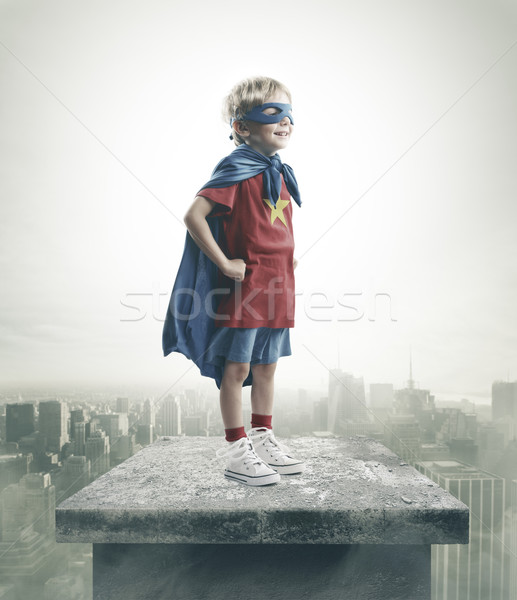 Superhero młody chłopak marzenia miasta moc wolności Zdjęcia stock © stokkete