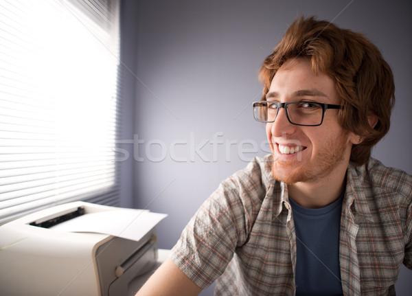 Inek öğrenci adam gülen komik gözlük ofis Stok fotoğraf © stokkete