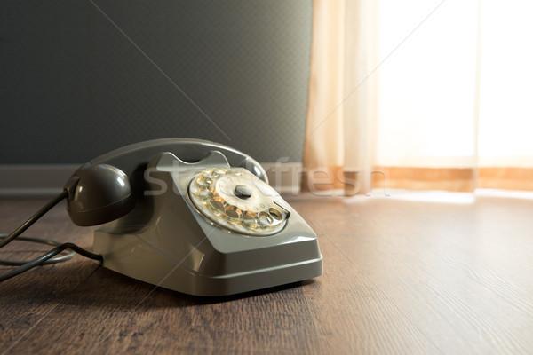Szürke telefon keményfa padló klasszikus asztal ablak Stock fotó © stokkete