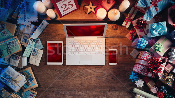 Рождества Desktop ноутбука мобильных таблетка Сток-фото © stokkete