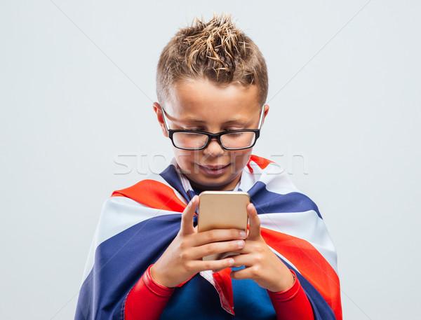 смешные британский superhero Cute улыбаясь Сток-фото © stokkete