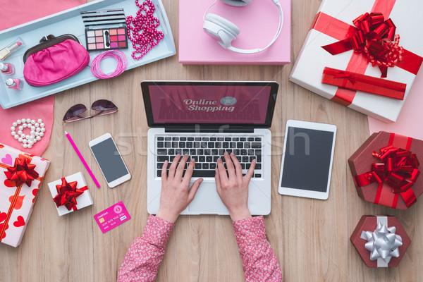 моде блоггер рабочих ноутбука красоту Сток-фото © stokkete