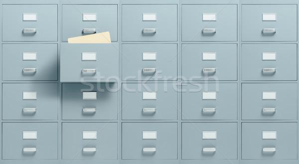Muur lade bestanden binnenkant Open administratie Stockfoto © stokkete