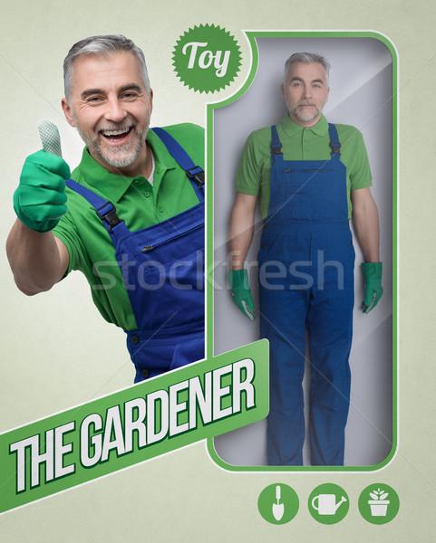 Jardineiro boneca masculino brinquedo ver acondicionamento Foto stock © stokkete