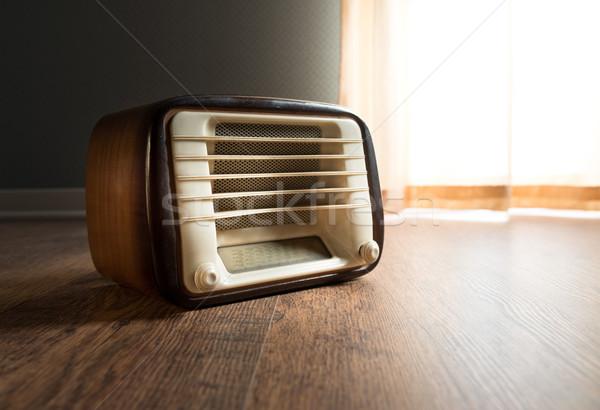 Vintage radio venster gordijn muziek Stockfoto © stokkete