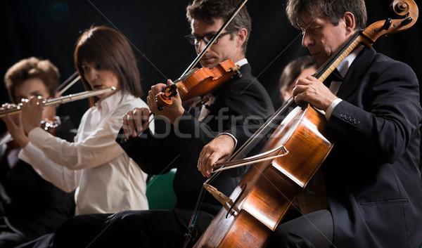 Klasik müzik konser senfoni orkestra sahne viyolonsel Stok fotoğraf © stokkete