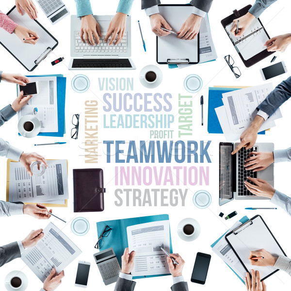 Business tekst business team werken Stockfoto © stokkete
