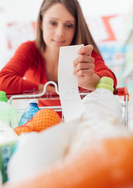 女性 食料品 領収書 笑顔の女性 ショッピング スーパーマーケット ストックフォト © stokkete