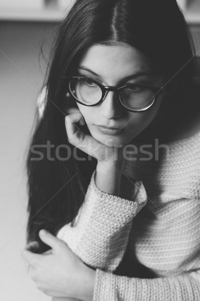 Szomorú nő nap álmodik fiatal lány pózol Stock fotó © stokkete