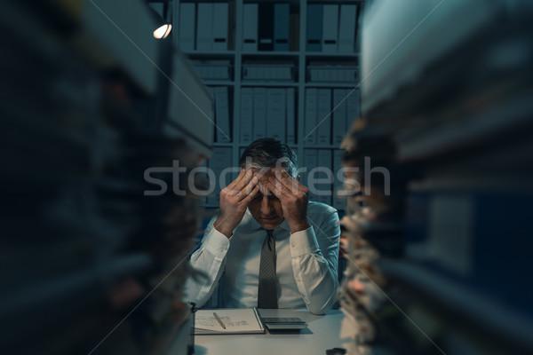 絶望的な ビジネスマン 作業 遅い オフィス 1泊 ストックフォト © stokkete