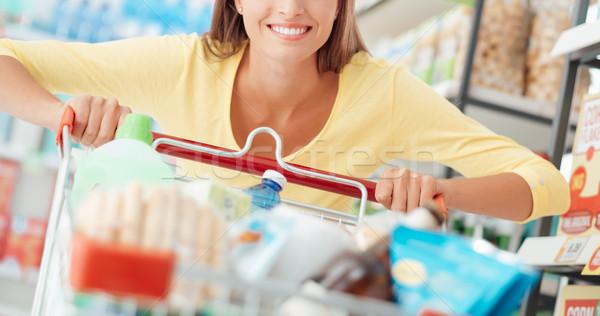 Zdjęcia stock: Kobieta · zakupy · wesoły · uśmiechnięta · kobieta · spożywczy