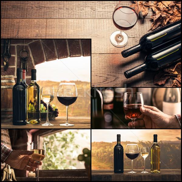 Foto stock: Vinificação · degustação · de · vinhos · foto · colagem · copos · de · vinho · garrafas
