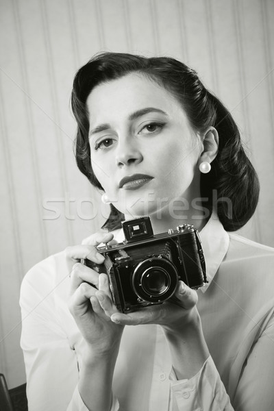 Foto d'archivio: Bella · donna · d'affari · vecchio · fotocamera · ritratto