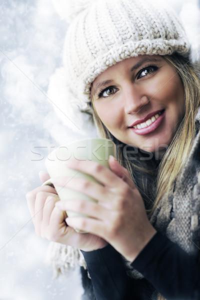 Foto stock: Belo · jovem · potável · café · chá · mulher · jovem
