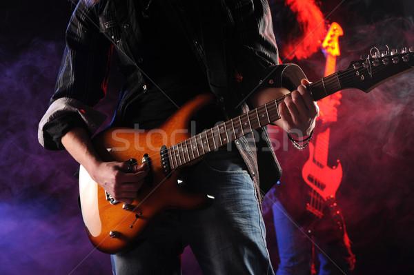 Stock fotó: Kő · élet · koncert · zenészek · játszik · zene