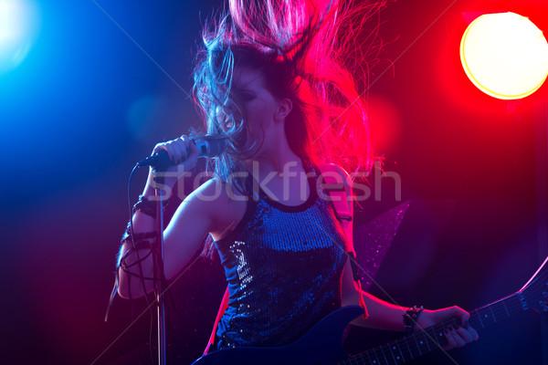 ロックスター 歌 ステージ 小さな ライト 音楽 ストックフォト © stokkete