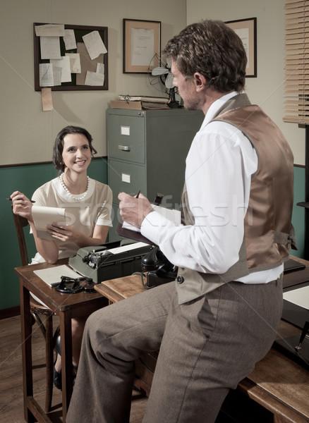 Bağbozumu yönetmen sekreter çalışma ofis kadın Stok fotoğraf © stokkete