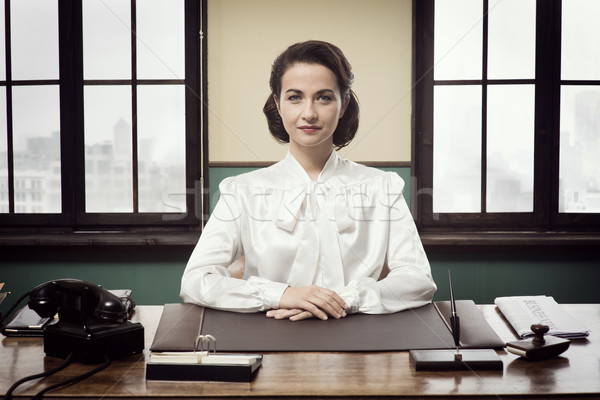 Attractive vintage business woman Stock photo © stokkete