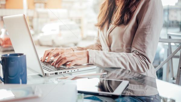 Mulher de negócios mãos profissional trabalhar laptop Foto stock © stokkete