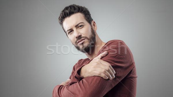 Cool молодым человеком портрет выразительный моде красный Сток-фото © stokkete