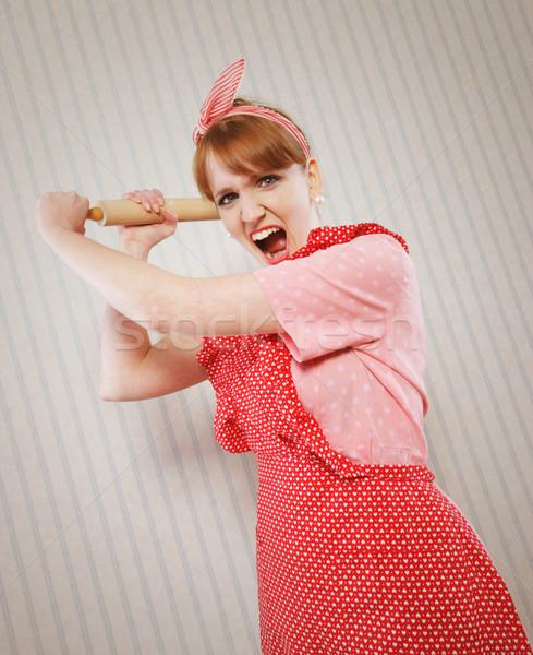 Zdjęcia stock: Retro · gospodyni · domowa · zły · wałkiem · stres · kobiet