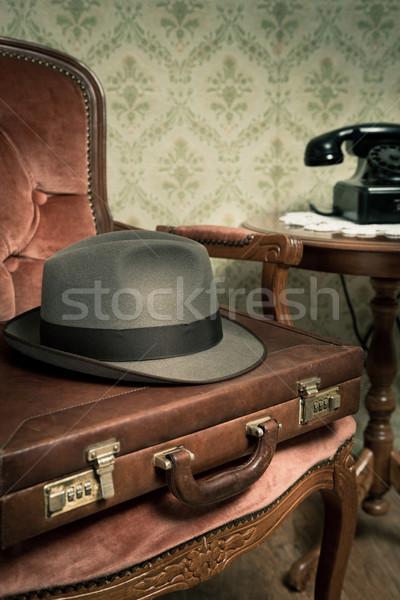 Сток-фото: старые · бизнесмен · Vintage · одежду · портфель · ретро