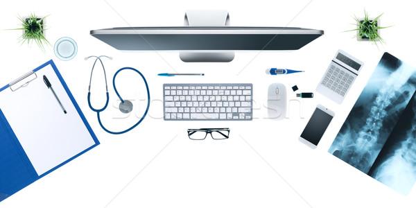 Ärzte Desktop medizinische Geräte Computer xray menschlichen Stock foto © stokkete