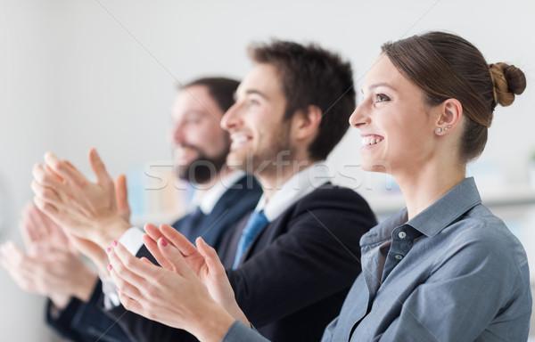 Stockfoto: Zakenlieden · seminar · glimlachend · vrouw · vergadering