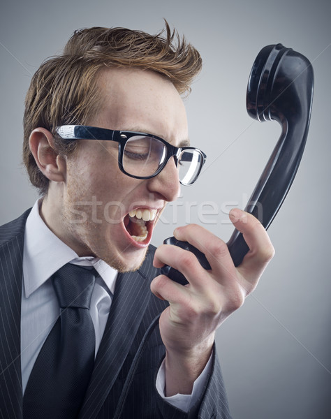 Stock photo: Angry nerd businessman