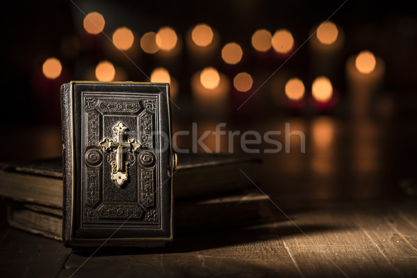 Antique bible and sacred books in the Church Stock photo © stokkete