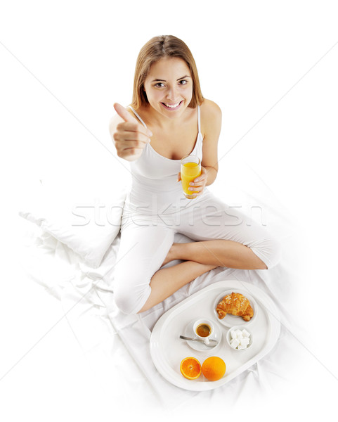 Stock photo: Breakfast in bed woman