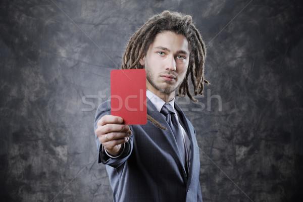 Döntőbíró üzletember piros kártya férfi portré Stock fotó © stokkete