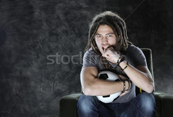 Futball ventillátor tv nézés futball fiatalember néz Stock fotó © stokkete