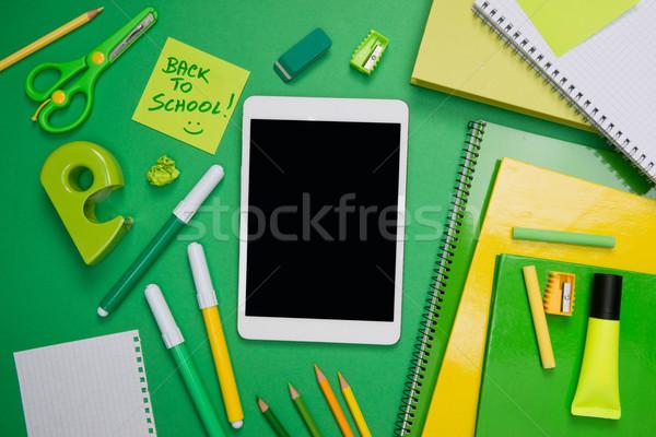 Vissza az iskolába tabletta digitális zöld irodaszer asztali Stock fotó © stokkete