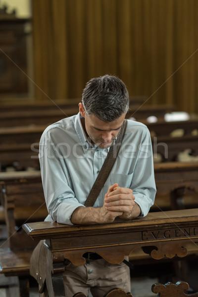 религиозных человека Церкви молиться рук Сток-фото © stokkete