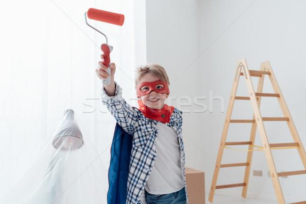 Szuperhős otthon rendbehoz aranyos fiú maszk Stock fotó © stokkete