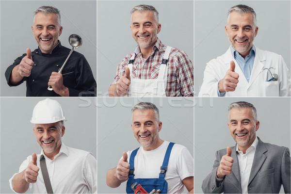 Profesyonel işçiler kolaj gülen olgun adam poz Stok fotoğraf © stokkete