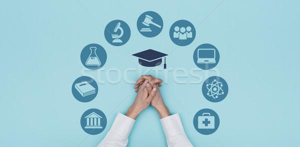Egyetem oktatás ikonok akadémia diákok kezek Stock fotó © stokkete