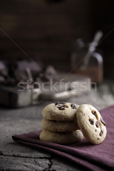 Stack of chocolate chip cookies Stock photo © stokkete