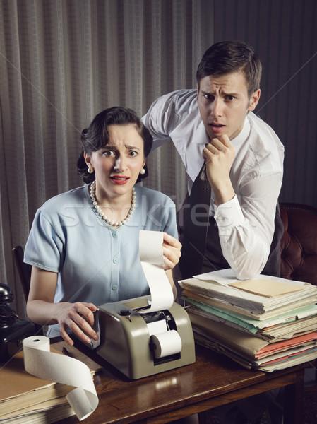 Otthoni pénzügyek ijedt férfi nő néz számlák Stock fotó © stokkete