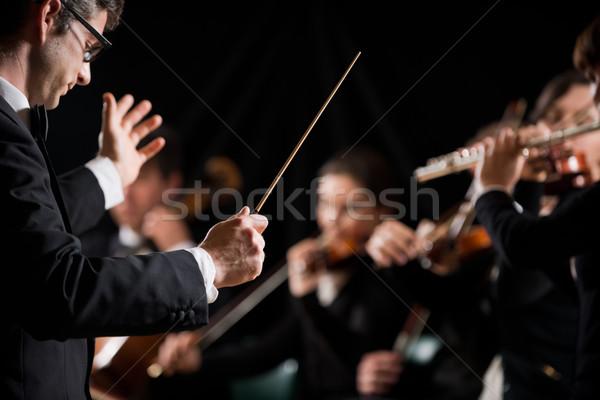 Vezető szimfónia zenekar hegedű művész fonal Stock fotó © stokkete