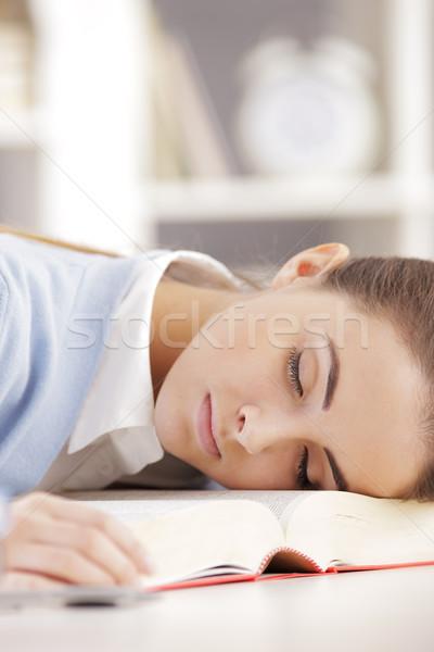 Praca domowa kobiet student snem książki piękna Zdjęcia stock © stokkete
