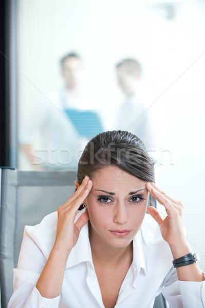исчерпанный деловая женщина деловой женщины страдание деловые люди рабочих Сток-фото © stokkete