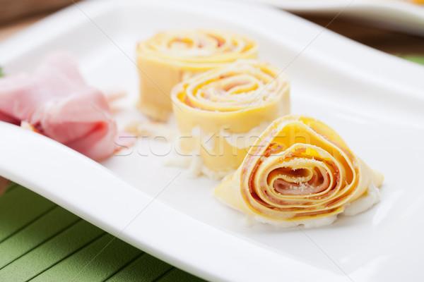 Fresh pasta with ham Stock photo © stokkete