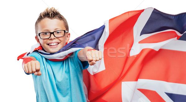 Gülen İngilizler süper kahraman süper kahraman bayrak Stok fotoğraf © stokkete