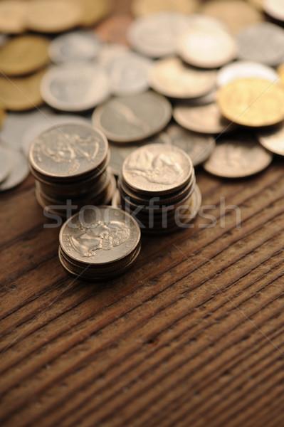 古い コイン 木製のテーブル 浅い ビジネス ストックフォト © stokkete
