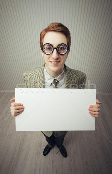 Uomo d'affari nerd pronto testo vecchio Foto d'archivio © stokkete