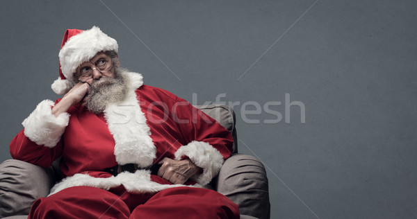 Leniwy Święty mikołaj czeka christmas zmęczony Święty mikołaj Zdjęcia stock © stokkete